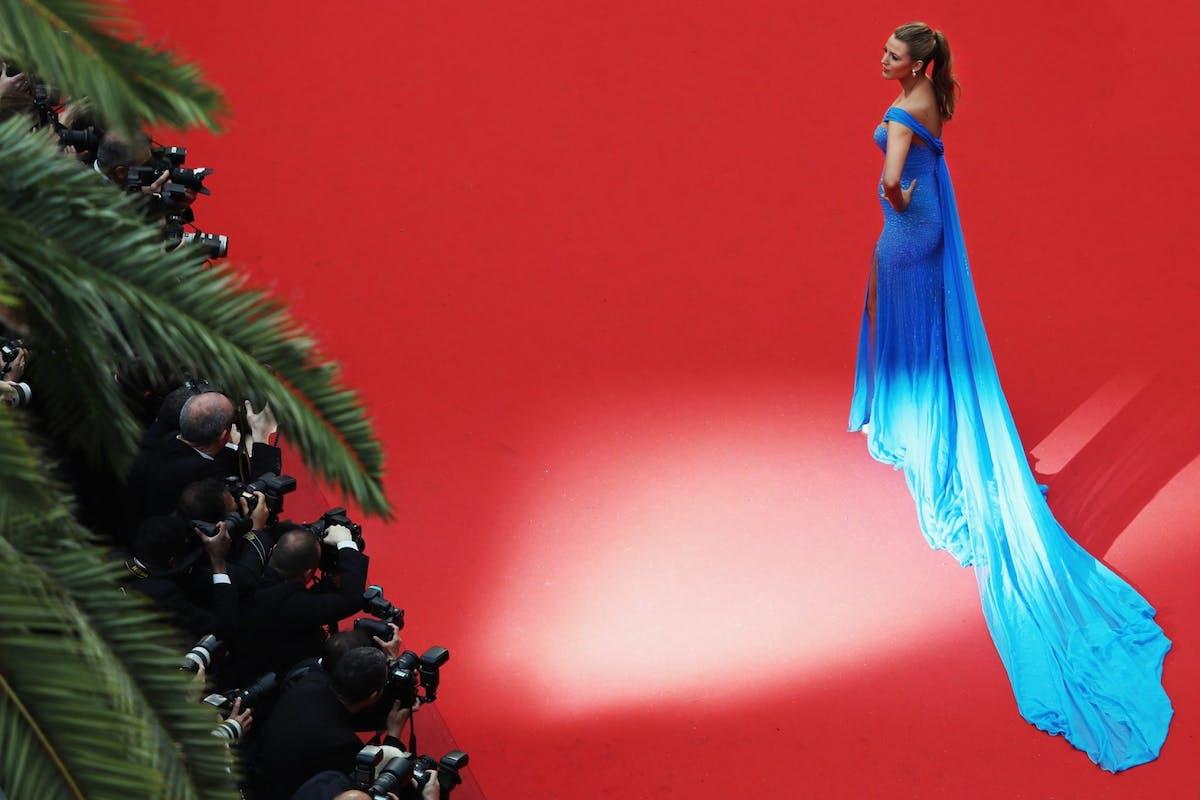 Blake Lively red carpet blue dress