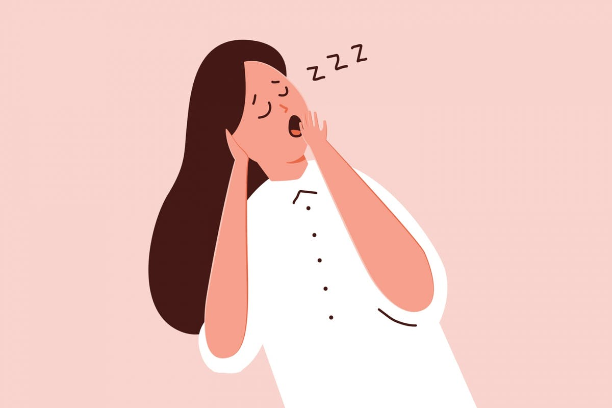 An illustration of a woman yawning