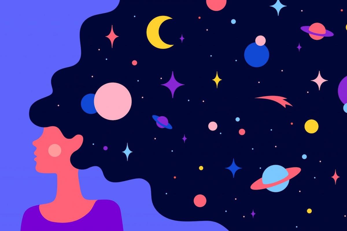A woman having a dream