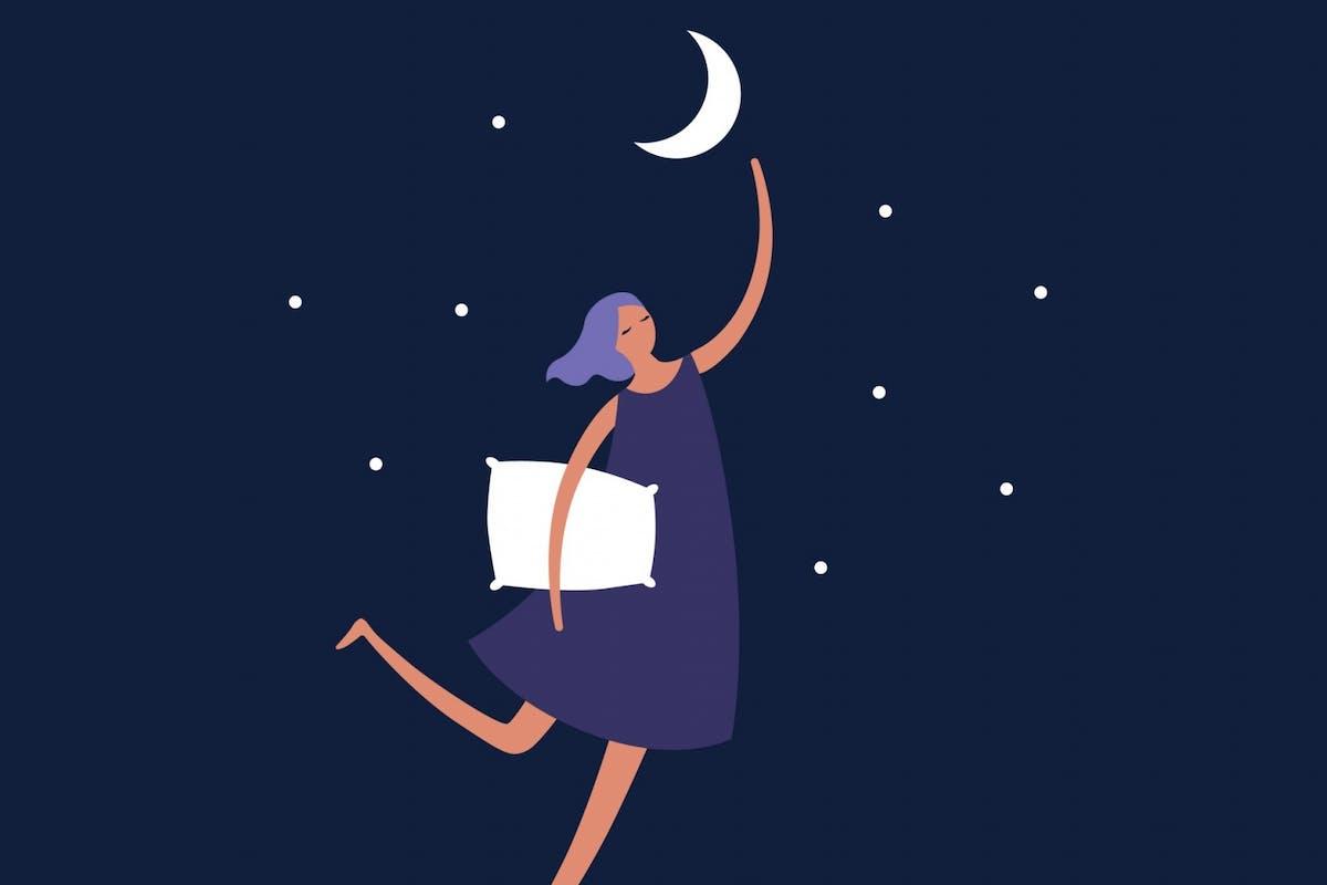 A woman having dreams