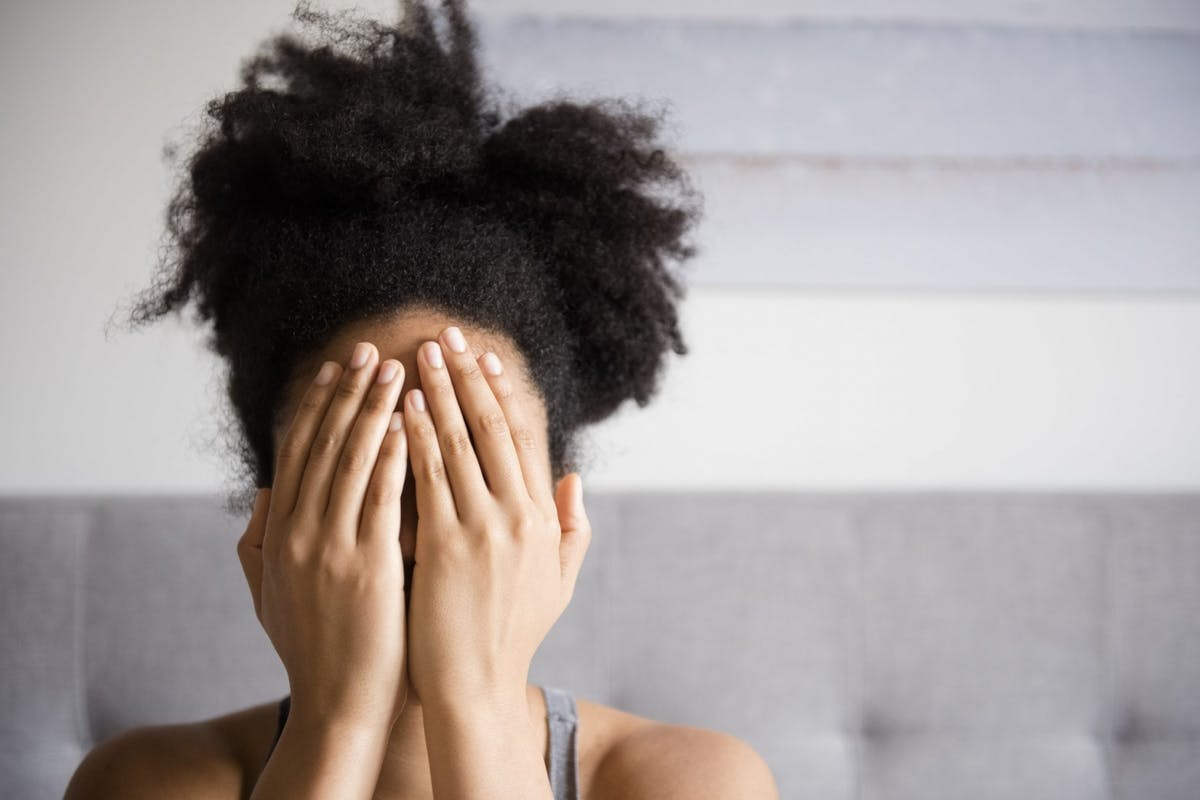A woman feeling stressed