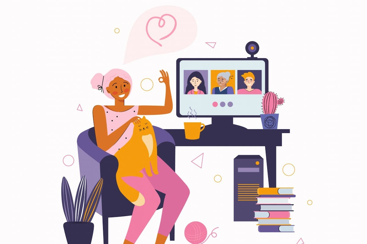 A woman on Zoom with her friends