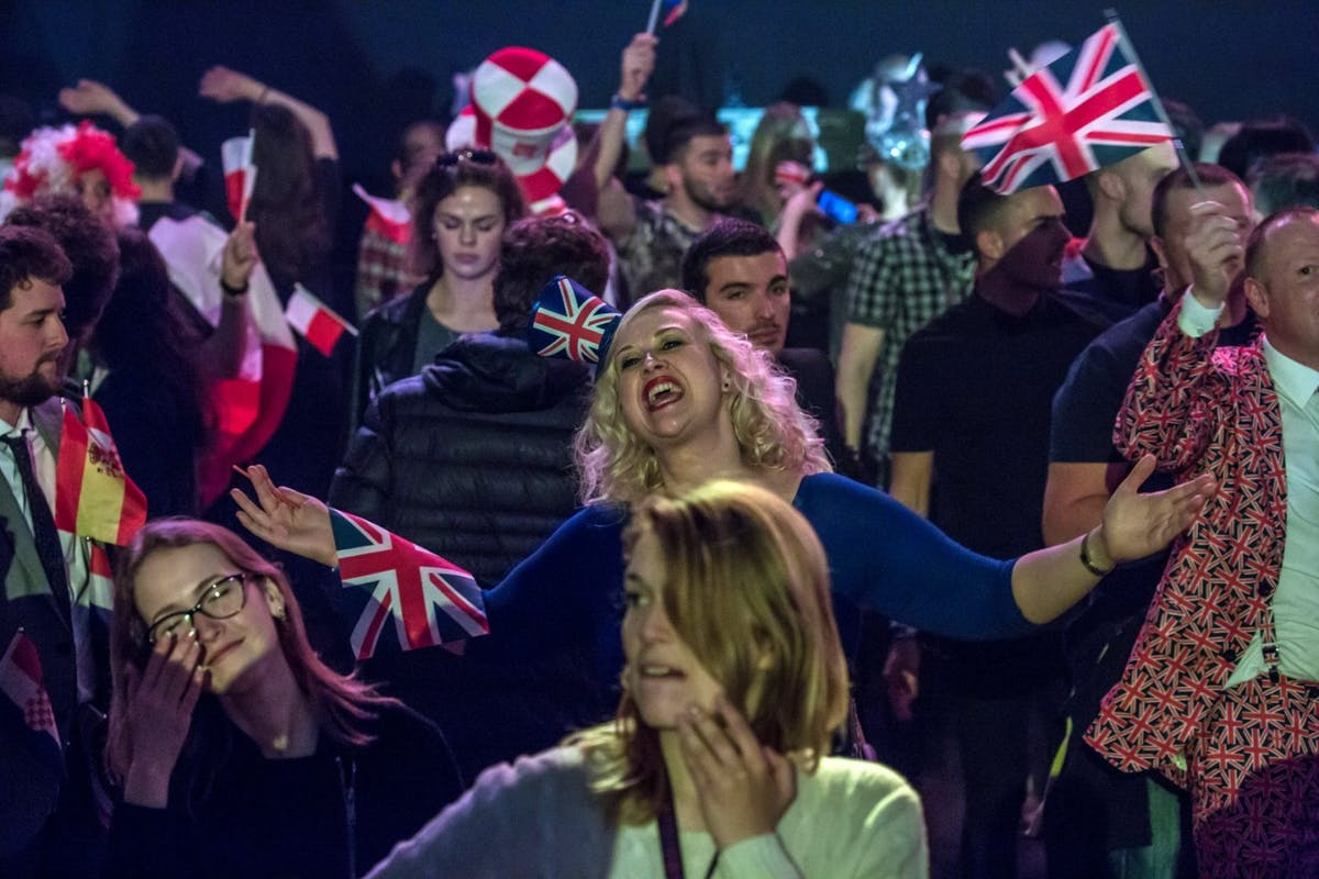 The audience at the Eurovision Grand Final on May 13, 2017 in Kiev, Ukraine. Ukraine is the 62nd host of the annual iteration of the international song contest. It is the longest running international TV song competition, held primarily among countries from Europe. Each participating country will perform an original song, votes cast by the other countries determine the winner. This year's winner Salvador Sobral from Portugal won with his love ballad 'Amar Pelos Dois'. (Photo by Brendan Hoffman/Getty Images)