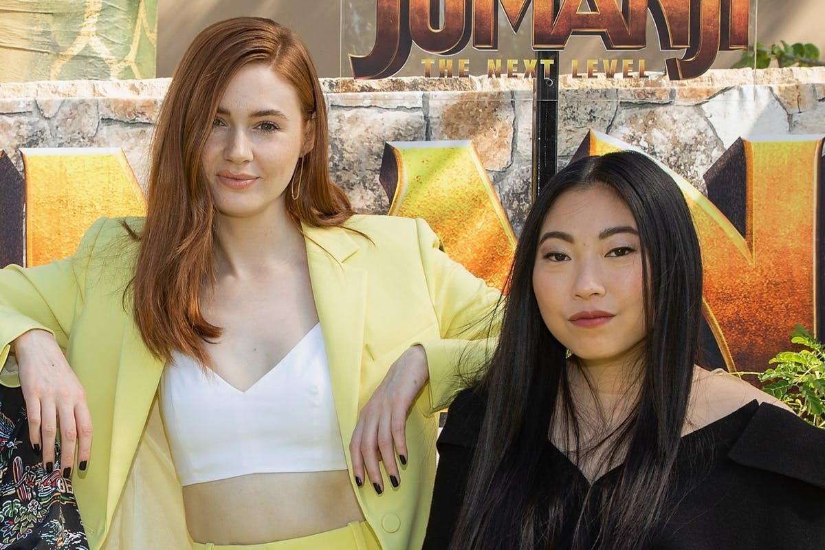 """Karen Gillan and Awkwafina attend the international junket of """"Jumanji: The Next Level"""" at Montage Los Cabos on 23 November 2019 in Cabo San Lucas, Mexico. (Photo by Victor Chavez/Getty Images)"""