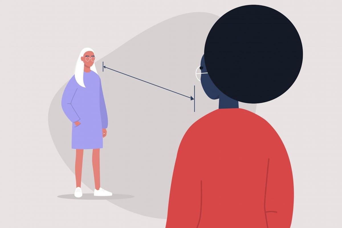 Two women social distancing
