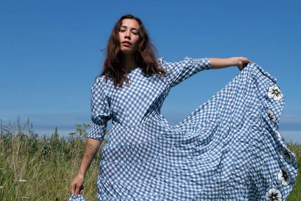 Rixo blue and white gingham dress