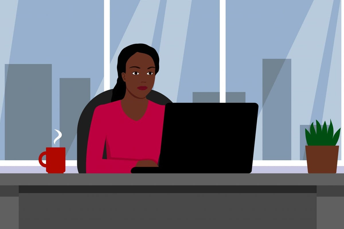 An illustration of a black woman working alone at a desk