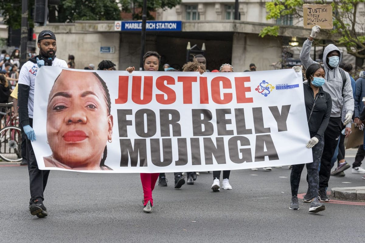 Belly Mujinga: Tens of thousands of people gather in Hyde Park to protest against the abuse of the rights of Black people across the world and to call for an end to systemic racism and police brutality on 03 June, 2020
