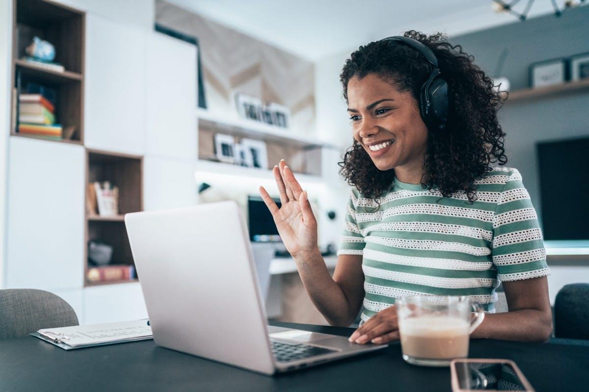 A woman doing a virtual job interview