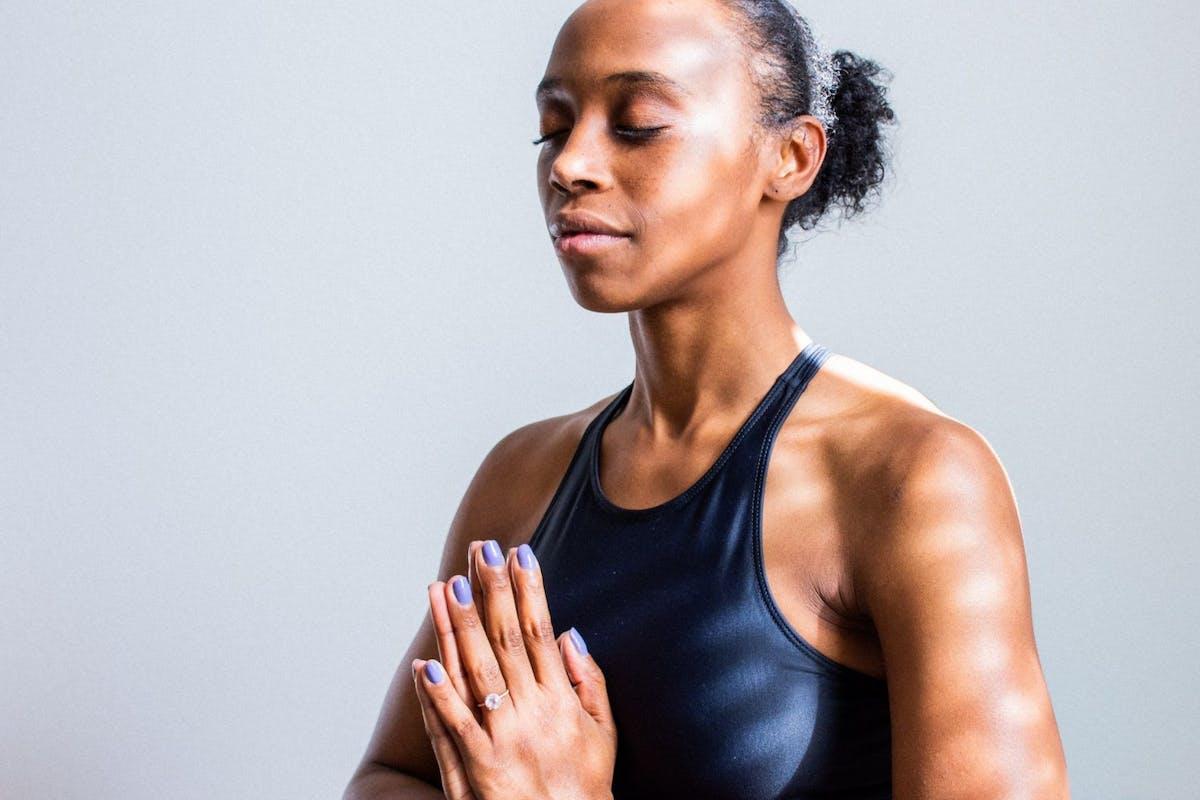 Woman practicing breath work