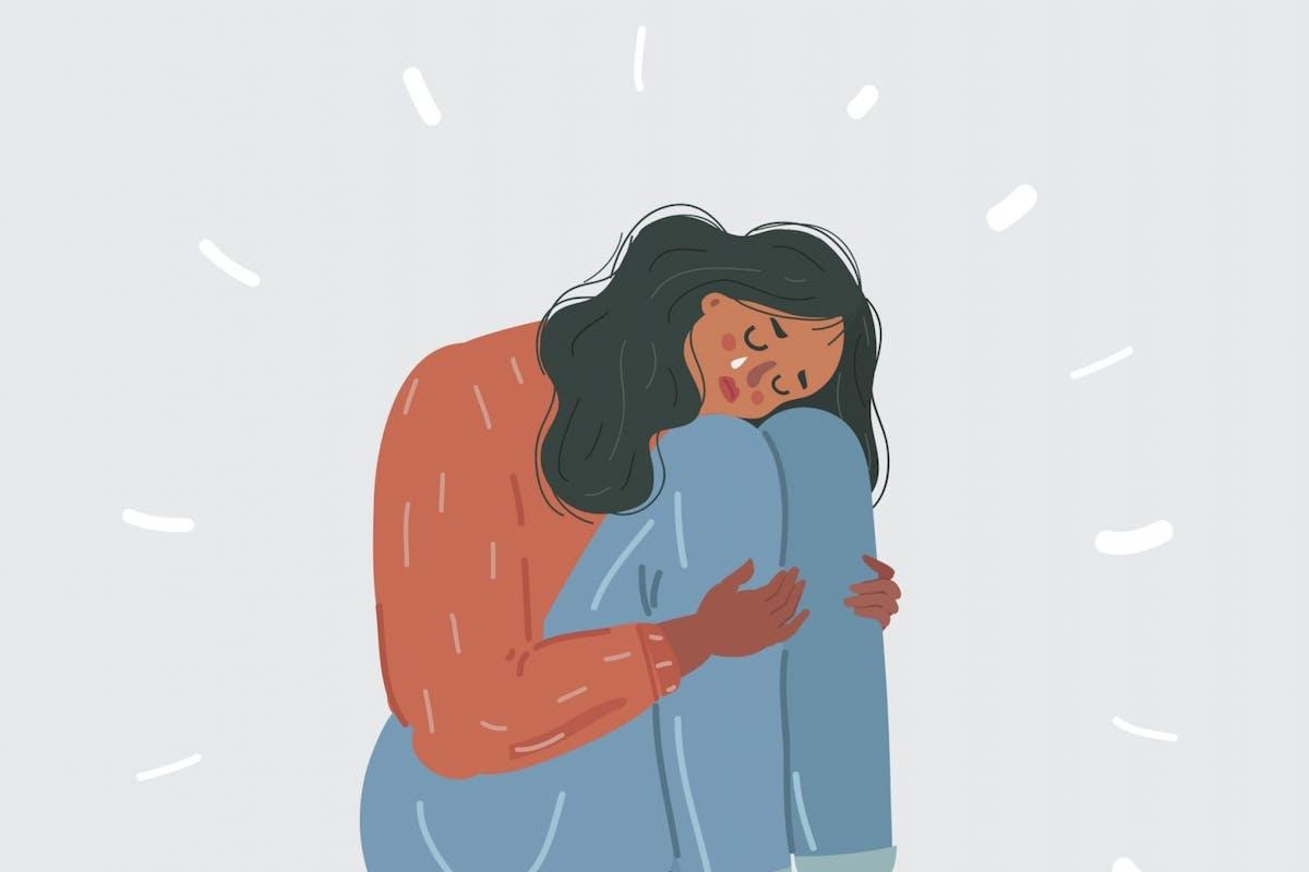 A woman feeling emotional