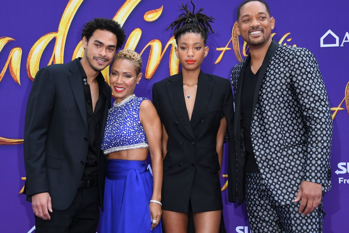 Trey Smith, Jada Pinkett Smith, Willow Smith and Will Smith attend the World Premiere of Disneys Aladdin at El Capitan theatre on May 21, 2019 in Hollywood. (Photo by VALERIE MACON / AFP) (Photo credit should read VALERIE MACON/AFP via Getty Images)
