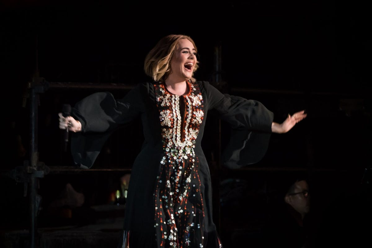 Adele on stage at Glastonbury festival in 2016