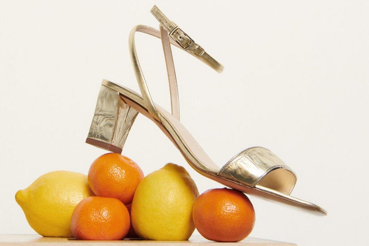 Best block heel shoes: Gold Sandro heels
