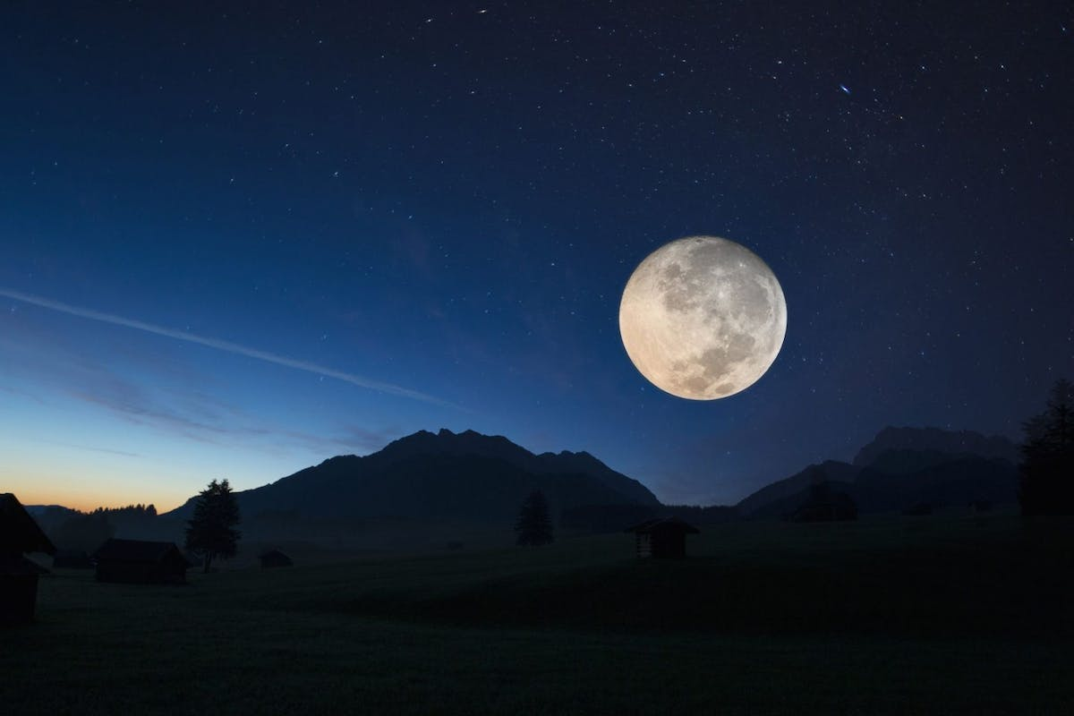 Full moon, Karwendel, Bavaria, Germany - stock photo