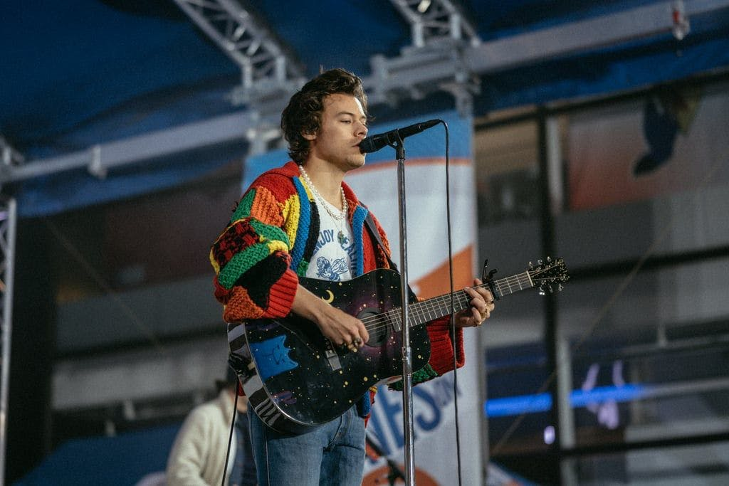 Harry Styles in the viral patchwork JW Anderson cardigan