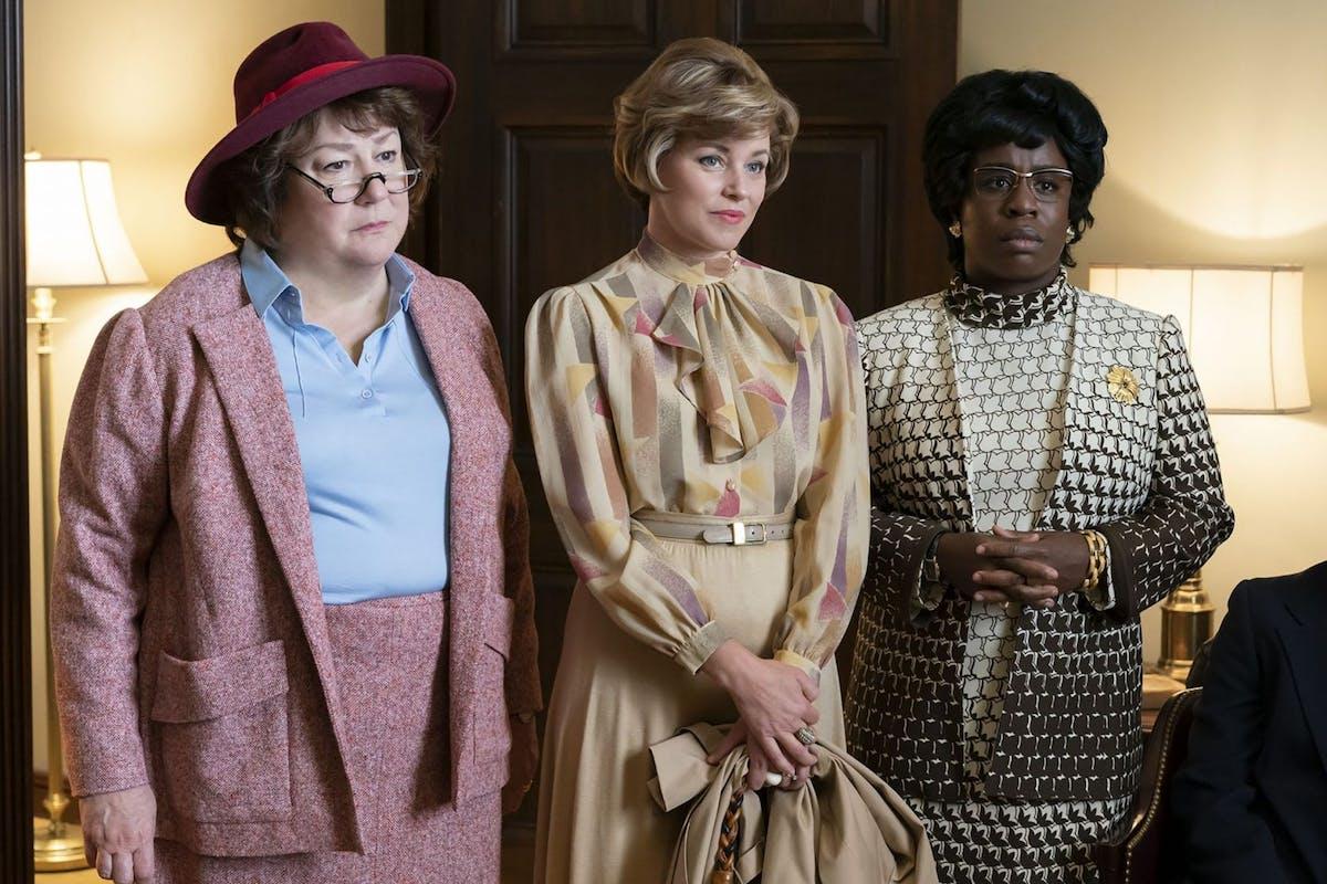 Mrs America: Margo Martindale as Bella Abzug, Uzo Aduba as Shirley Chisholm, and Elizabeth Banks as Jill Ruckelshaus
