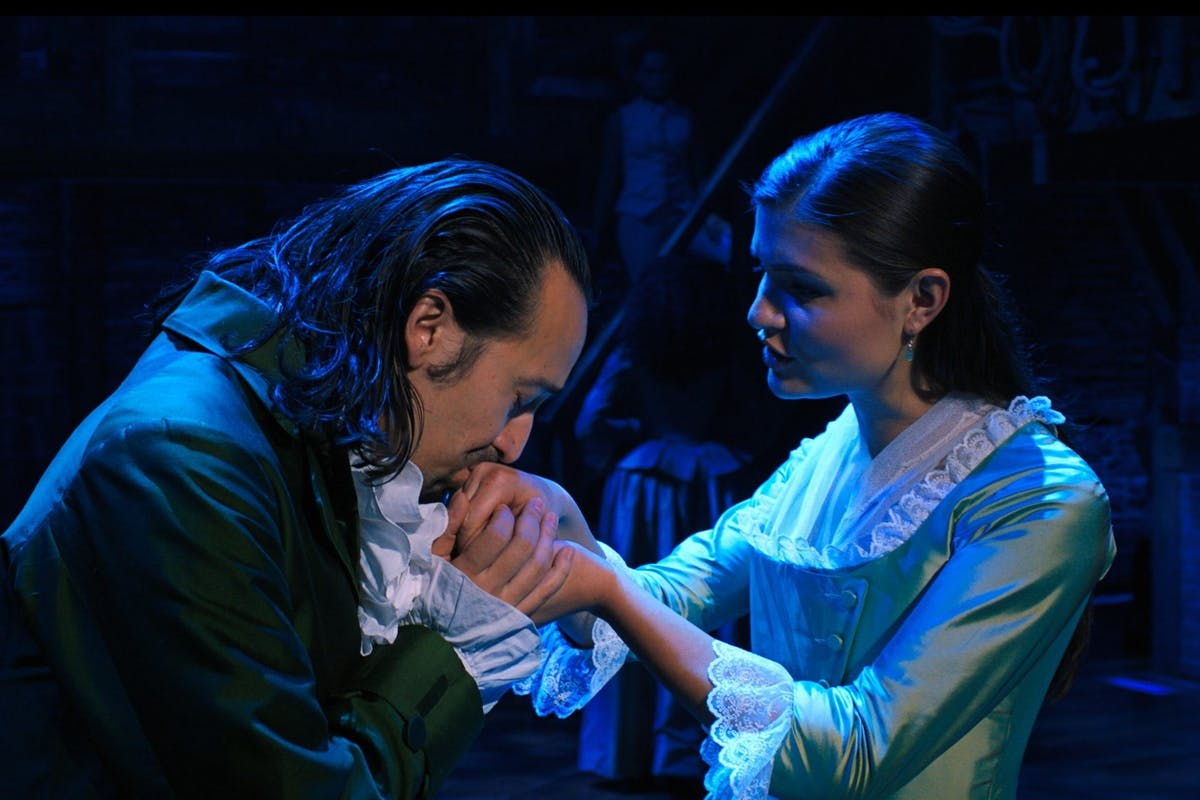 Lin Manuel-Miranda and Phillipa Soo as Alexander and Eliza Hamilton in Hamilton