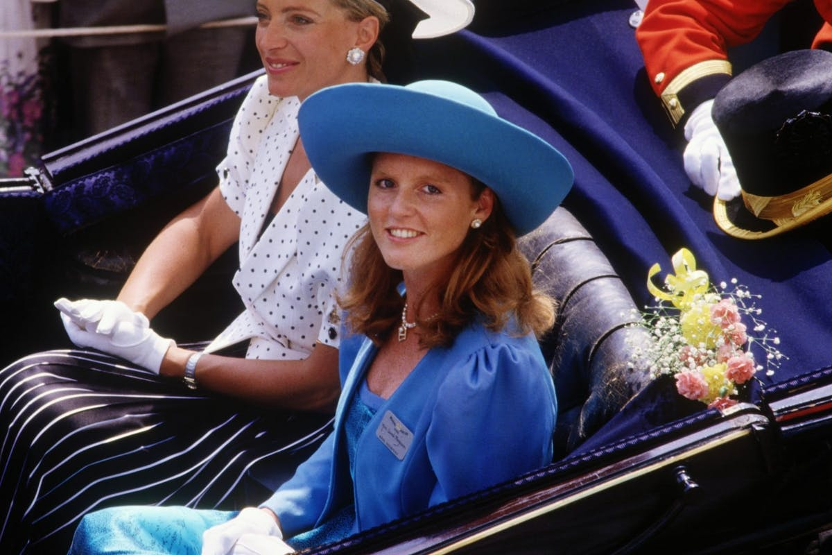 Sarah, Duchess of York and Princess Michael of Kent arriving in an open carriage to the Royal Ascot Races on June 17, 1986 at Ascot Racecourse, Berkshire.(Photo by David Levenson/Getty Images)