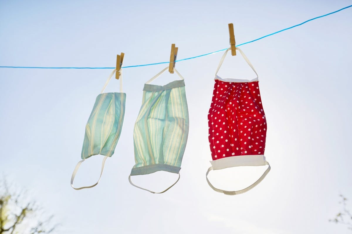 Face masks on a washing line