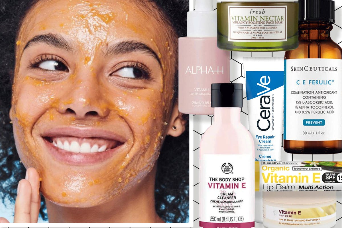 Woman applying face mask and vitamin E products