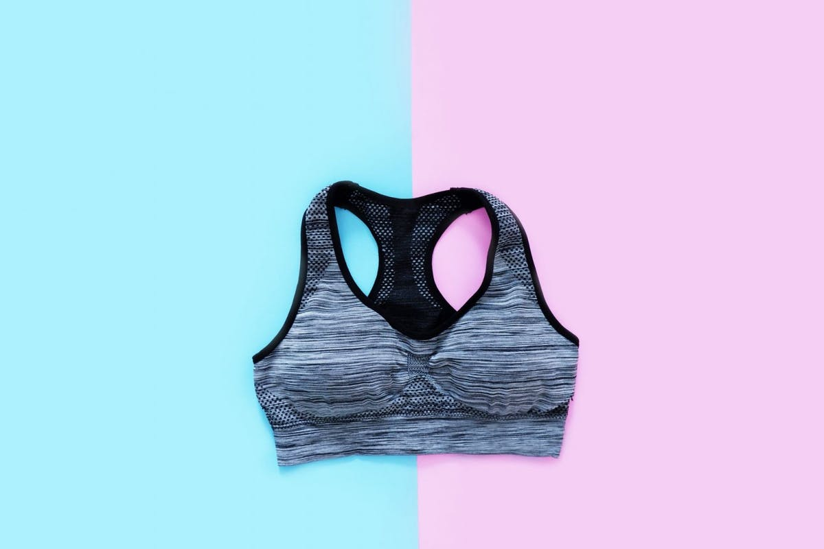 Sports Bra Isolated on Blue and Pink Color Pastel