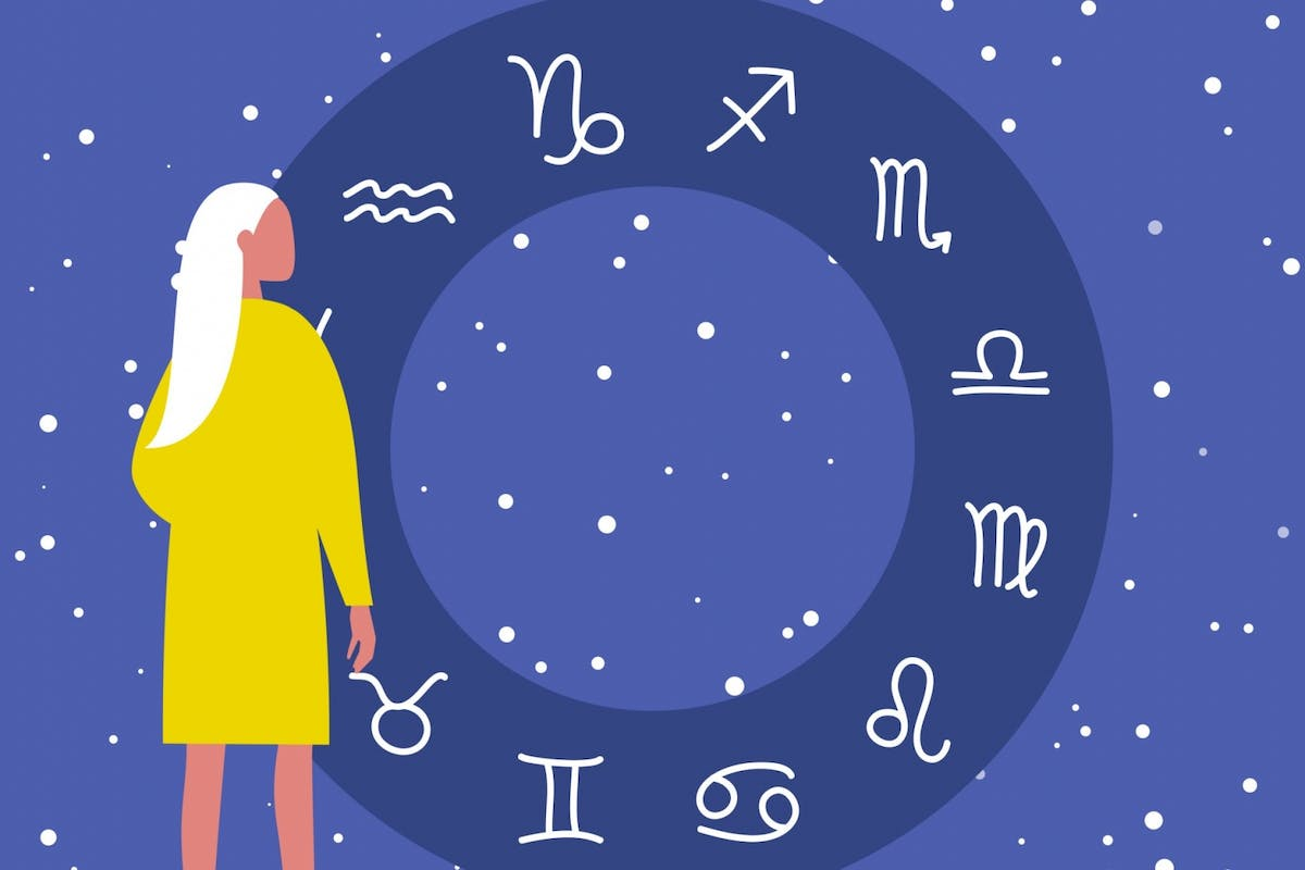 A woman looking at the zodiac