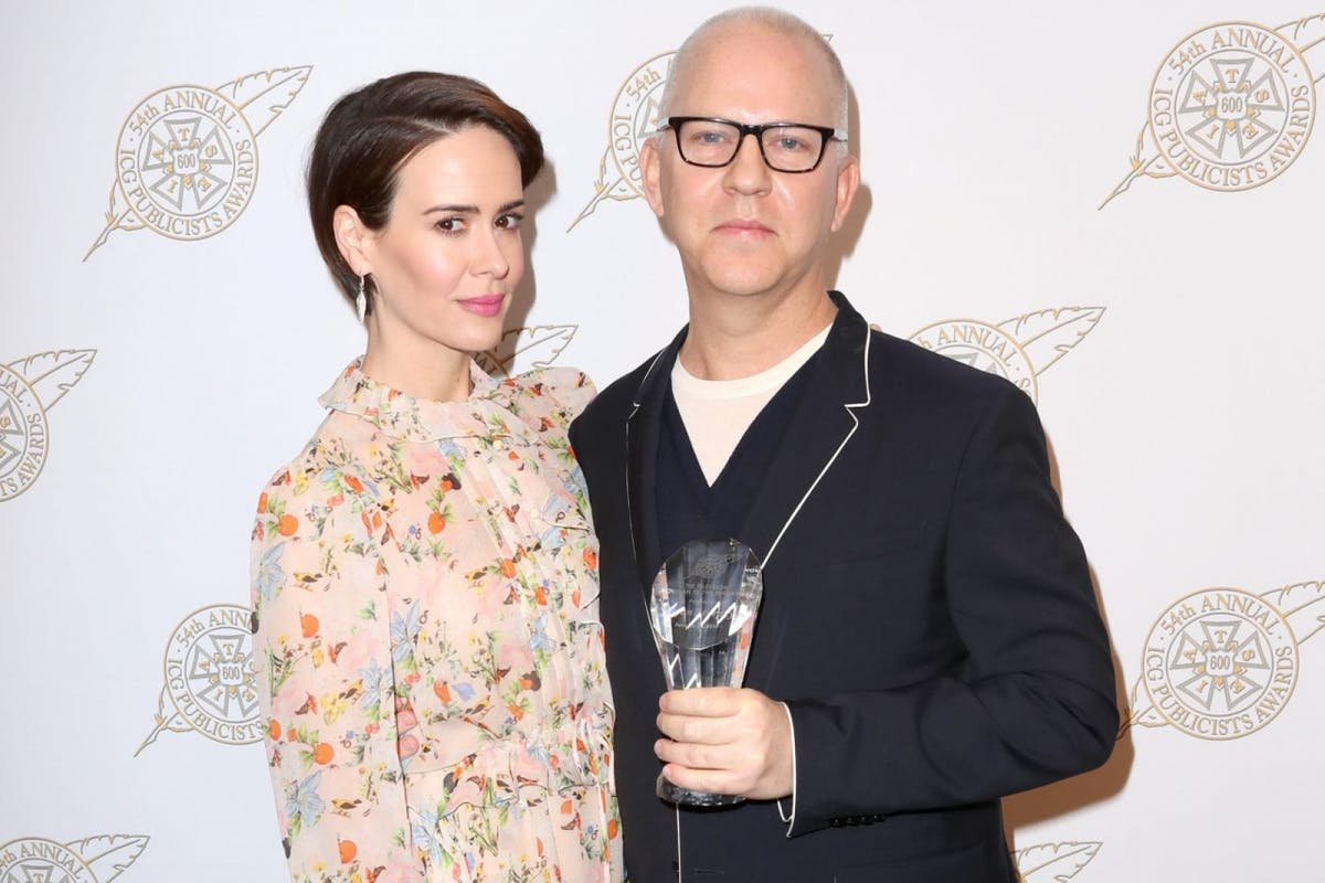 Sarah Paulson and Ryan Murphy poses with his Television Showman of the Year award backstage at the 54th Annual International Cinematographers Guild Publicists Awards at The Beverly Hilton Hotel on February 24, 2017 in Beverly Hills, California. (Photo by Frederick M. Brown/Getty Images)