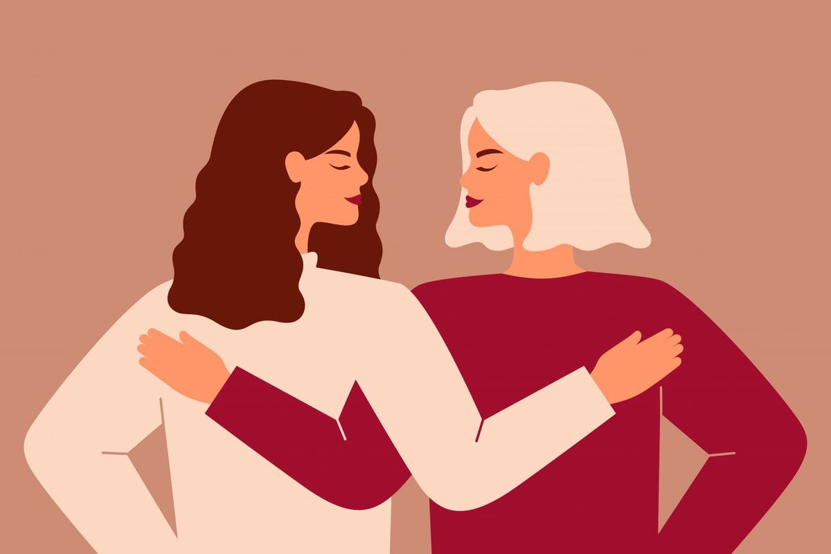 Back view of two strong women supporting each other. - stock vector