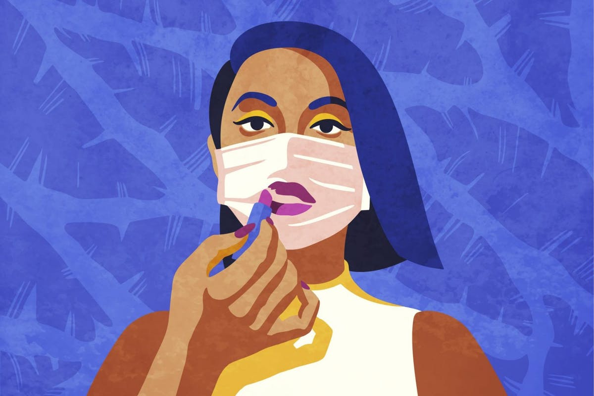 Illustration of woman applying lipstick over mask