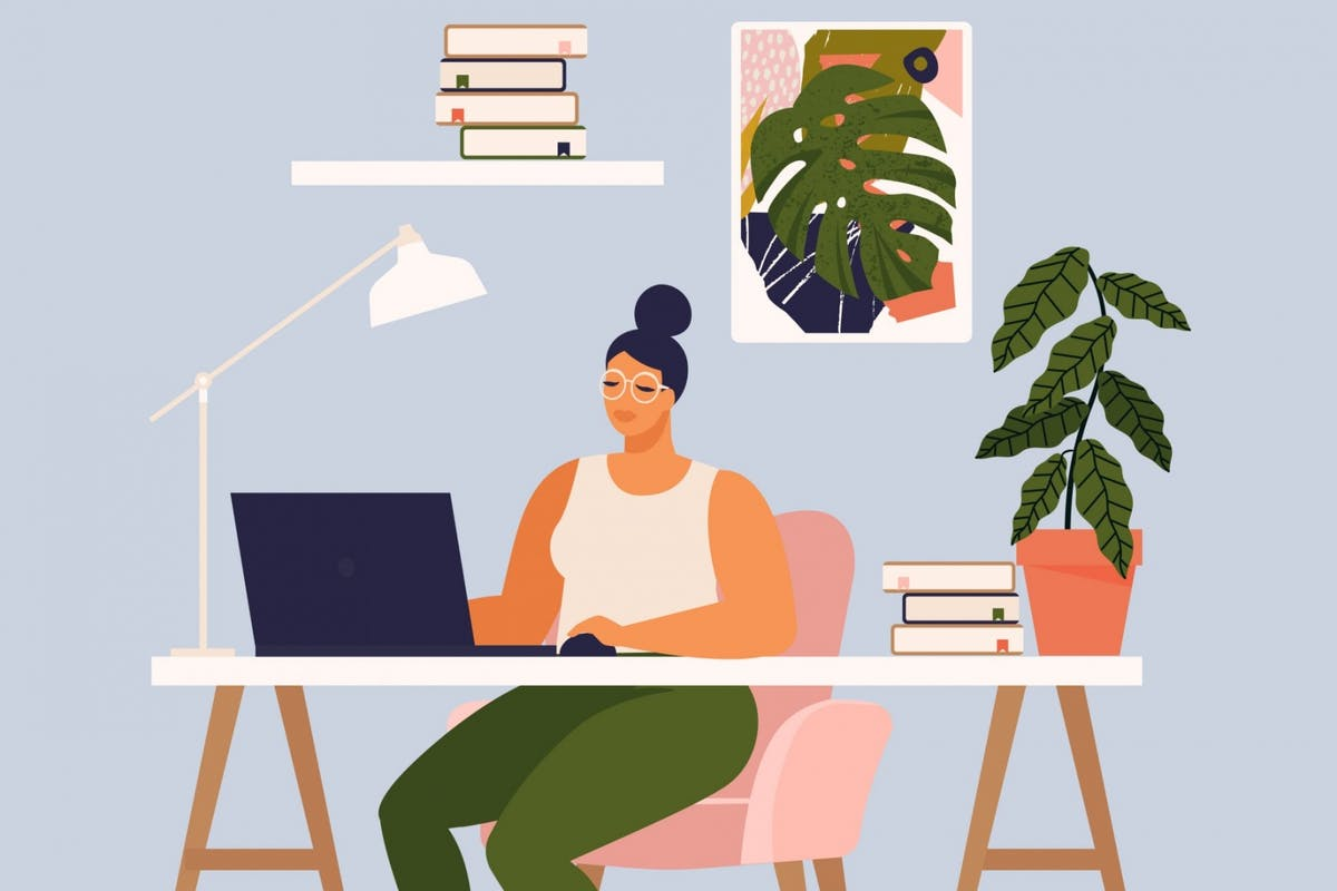 An illustration of a woman working at her desk