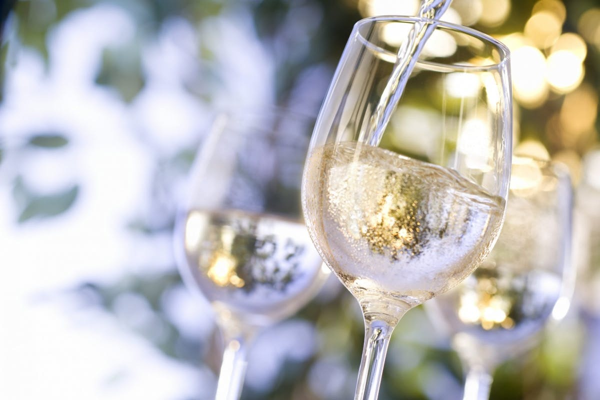 Cold glasses of white wine