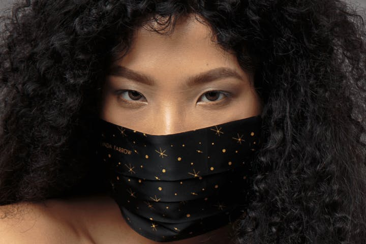 Linda Farrow face mask covering sparkly fashion mask