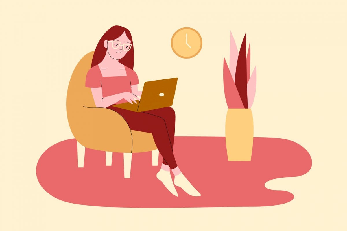 A woman dealing with boreout while working from home