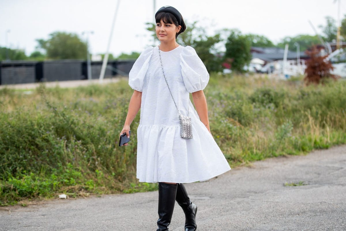 Street style wearing white dress