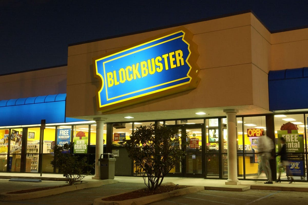 Blockbuster store in Miami at night