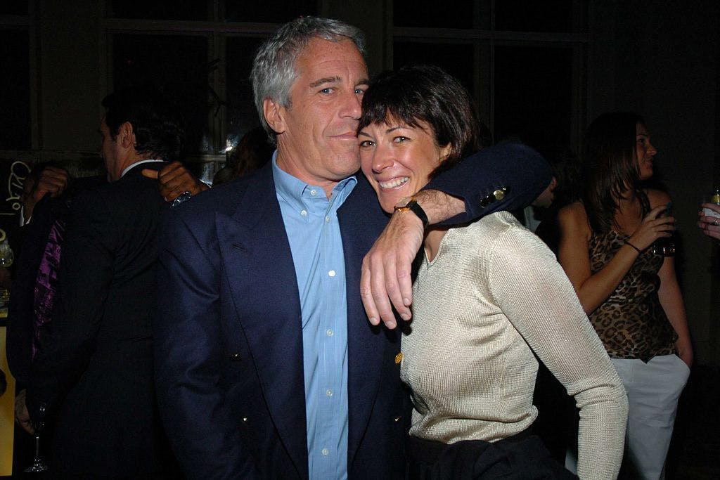 Jeffrey Epstein and his then-girlfriend Ghislaine Maxwell pictured at a party in 2005.