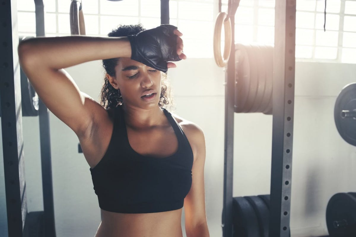 Woman in gym after workout