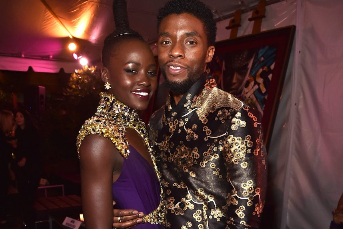 Lupita Nyong'o (L) and Chadwick Boseman at the Los Angeles World Premiere of Marvel Studios' BLACK PANTHER at Dolby Theatre on January 29, 2018 in Hollywood, California.