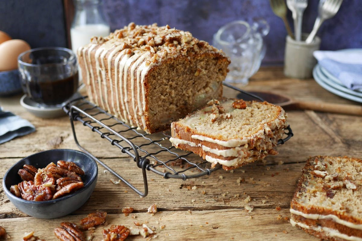 spiced apple, date and espresso loaf cake