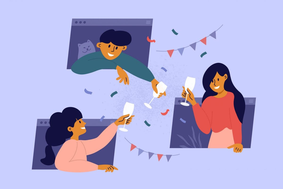 Online meeting friends, celebration birthday, drinking wine through computer windows - stock vector