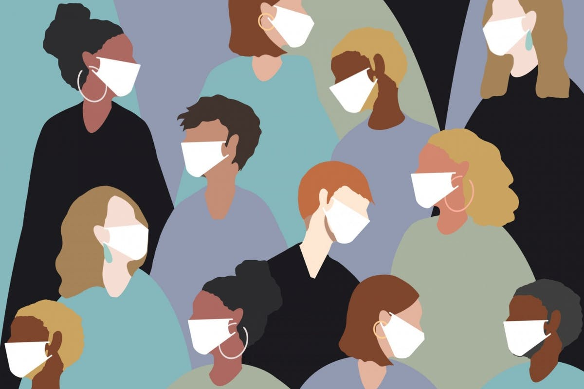Young people wearing face masks to protect from coronavirus