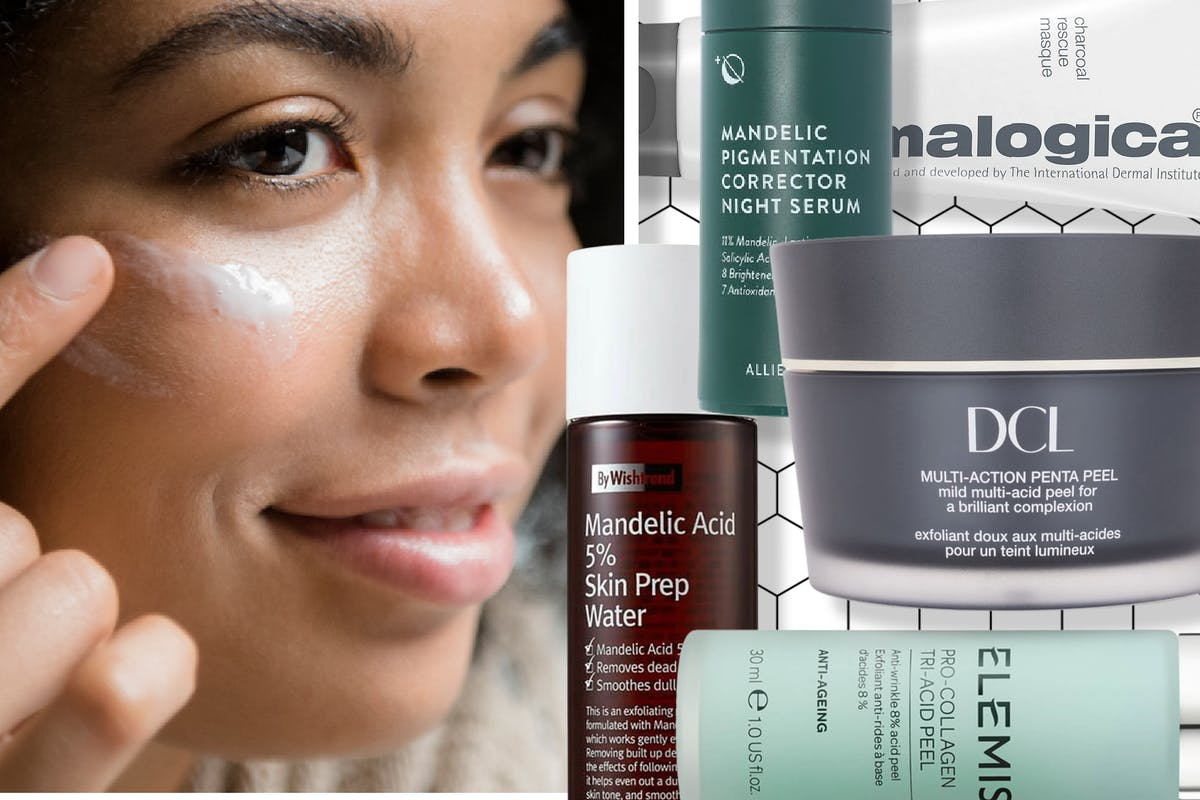 Woman applying cream to her face and a selection of mandelic acid-based skincare products