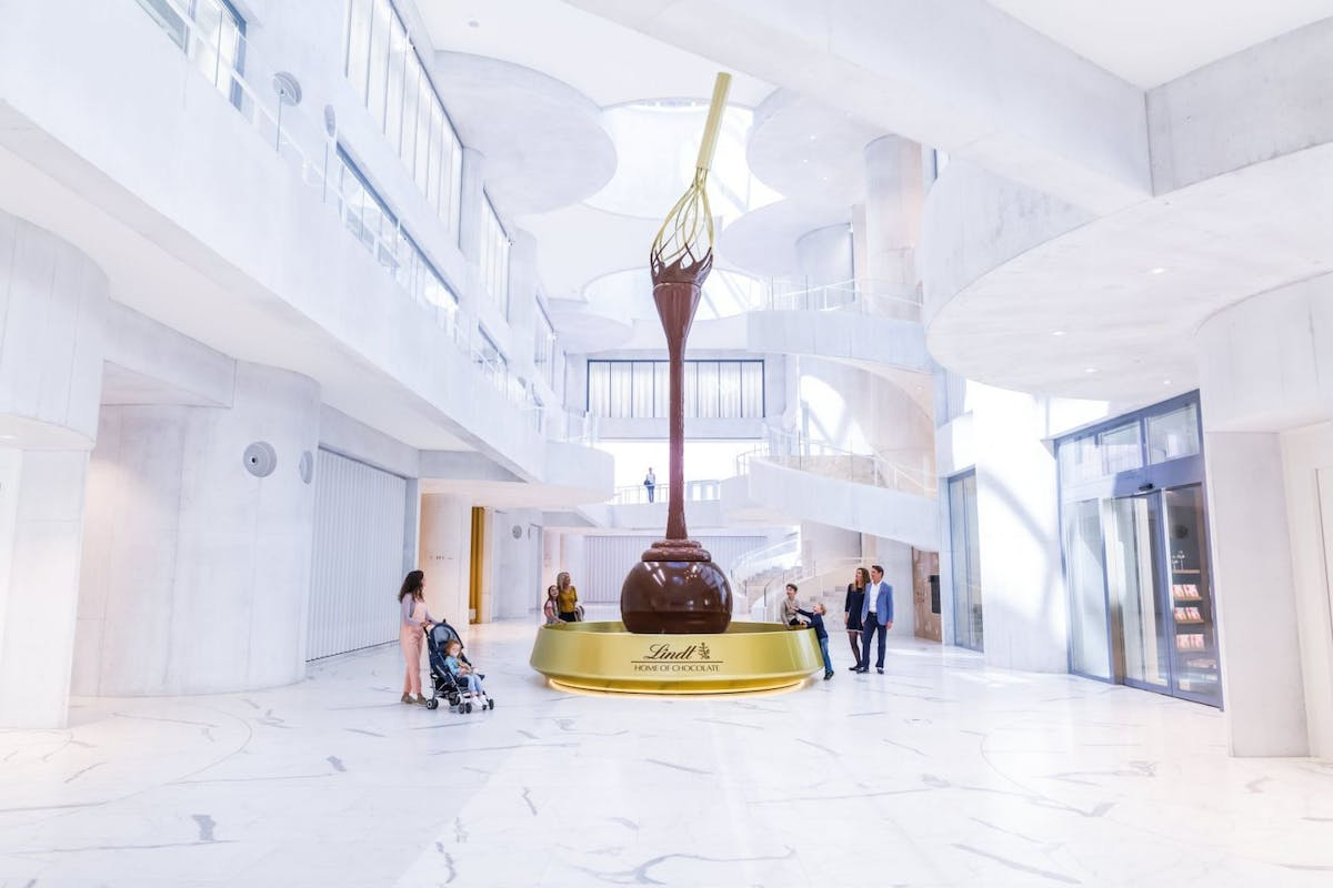 The world's tallest chocolate fountain at the Lindt Home Of Chocolate in Zurich