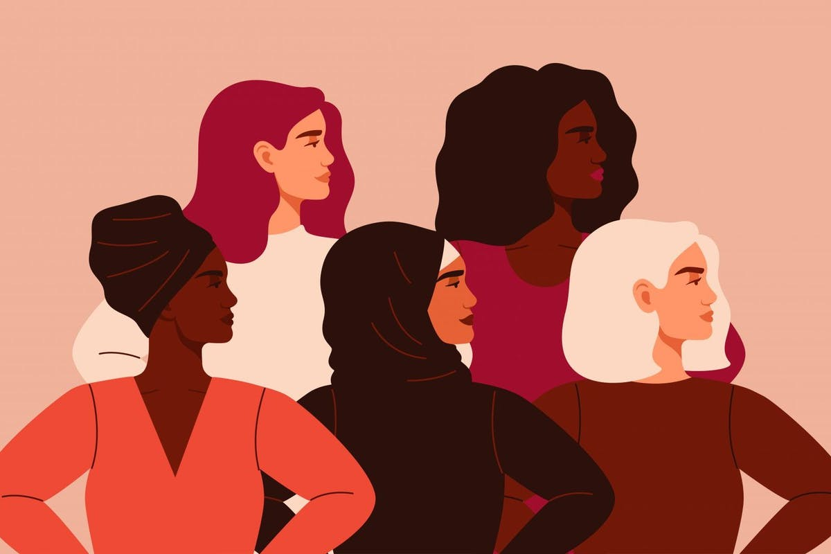 Illustration of five women of different nationalities looking to the right