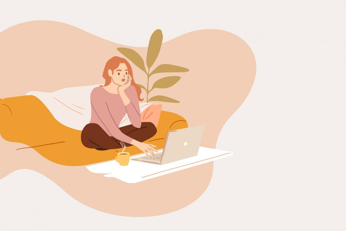An illustration of a woman applying for work