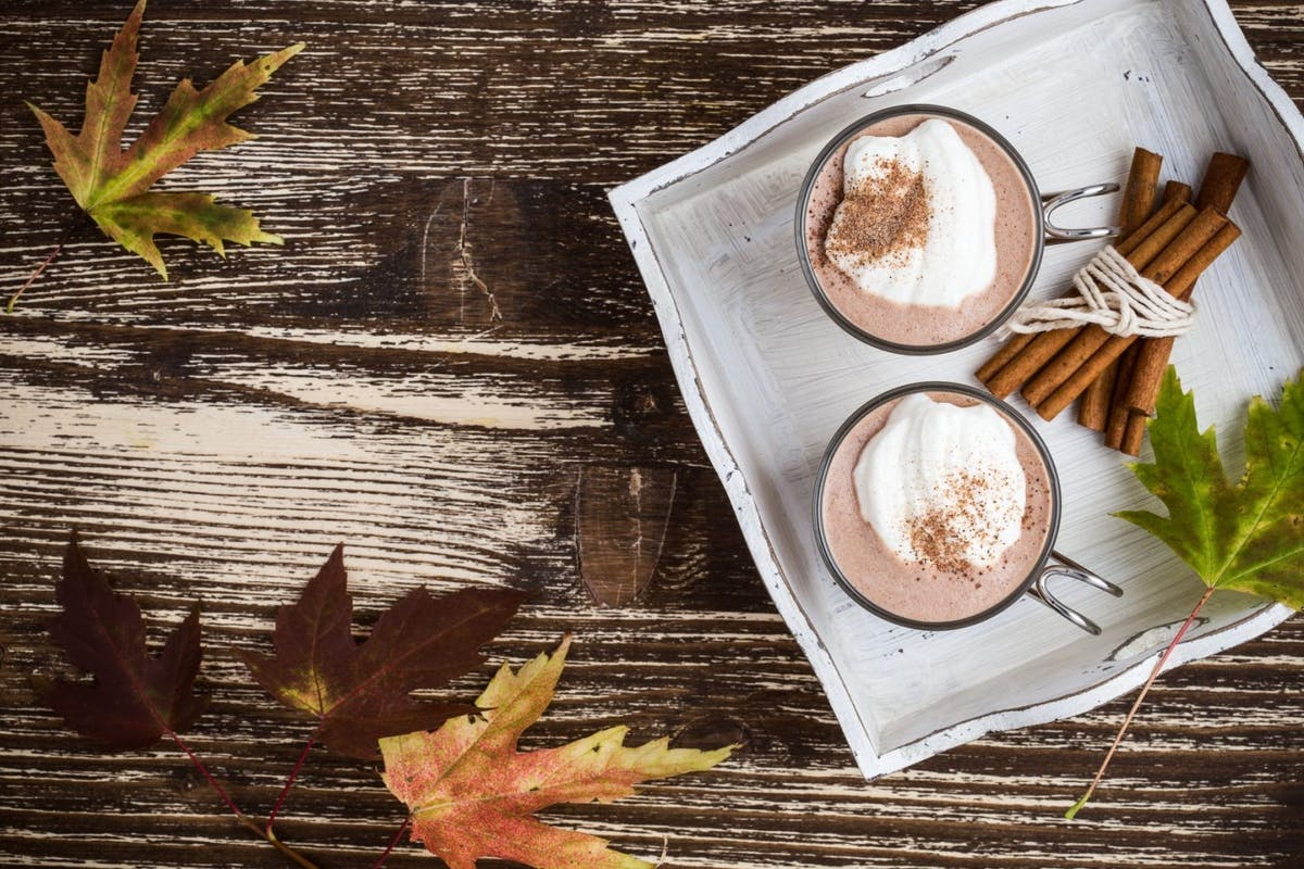 Homemade cinnamon and spice hot cocoa served with whipped cream. Thanksgiving table viewed from above - stock photo