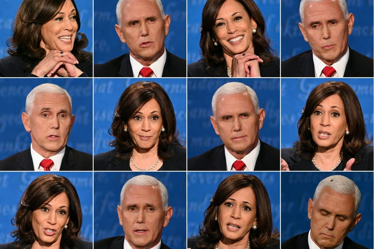 Kamala Harris and US Vice President Mike Pence during the vice presidential debate in Kingsbury Hall at the University of Utah on October 7, 2020, in Salt Lake City, Utah. (Photos by Robyn Beck and Eric BARADAT / AFP) (Photo by ROBYN BECK,ERIC BARADAT/AFP via Getty Images)