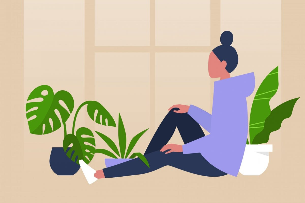 A woman relaxing at home