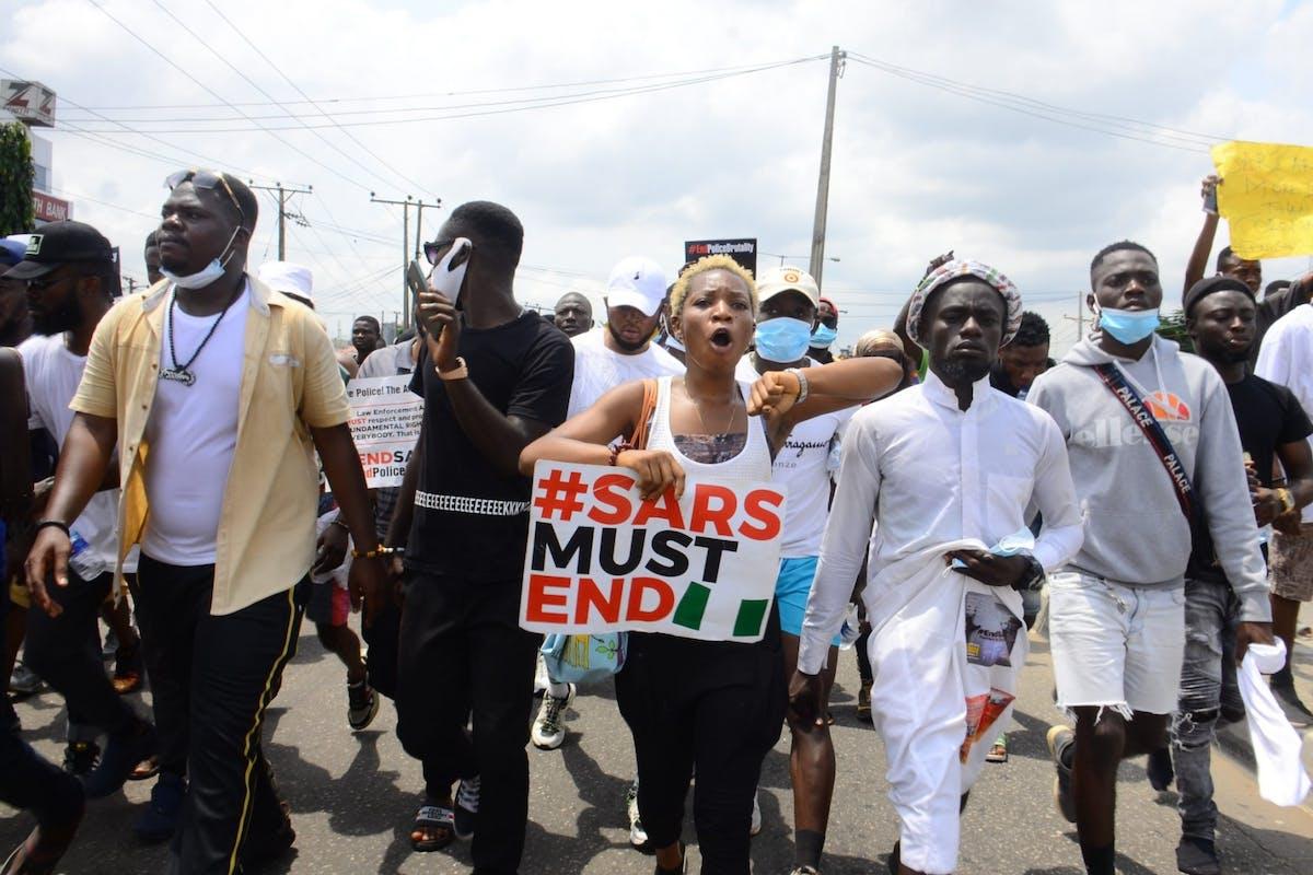 EndSARS protestors in Nigeria